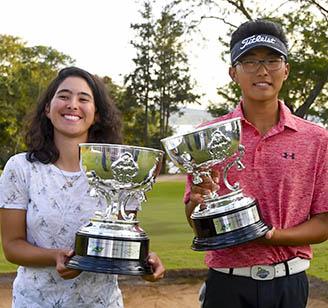 Laura Helena Caetano e Lucas Park com seus trofeus no 18 328