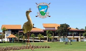 Terras do golfe vista sede com logo e siriema 360