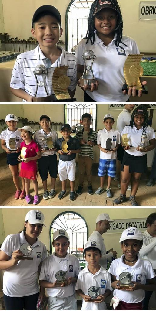 De cima para baixo, os campeões gerais do Nota 10,  todos campeões e vices do Nota 10 e os premiados co Corujinha