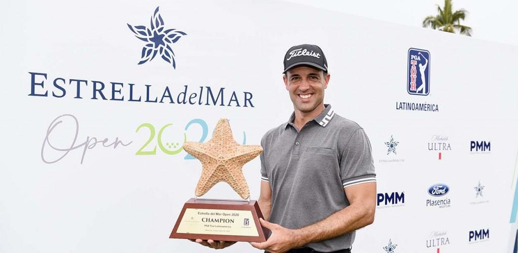 Rocha com o troféu do México. Foto: Enrique Berardi/PGA Tour